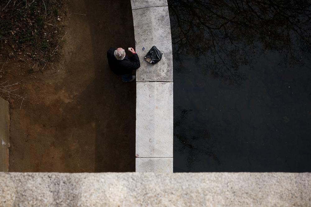 Looking Down on A Public Masturbator